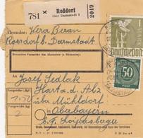 BiZone Paketkarte 1948: Roßdorf über Darmstadt Nach Hart A. D. Alz - American,British And Russian Zone