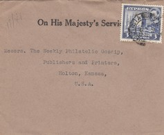 Cyprus: 1948: On His Majesty's Service To Holton/Kansas/USA - Zypern
