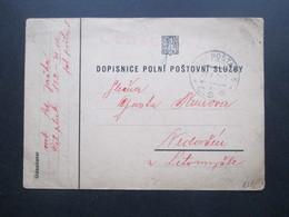 CSR 1938 Feldpostkarte / Roter Stempel Censurovano Und Polni Posta C.S.P. Zensurpost Tschechoslowakei - Tschechoslowakei/CSSR
