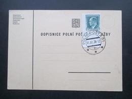 DR / Sudetenland ?? 1938 Blanko PK Mit Marke Der Tschechoslowakei (Eckrandstück) Mit CSR Stempel Polni Posta 11.XI.38 - Tschechoslowakei/CSSR