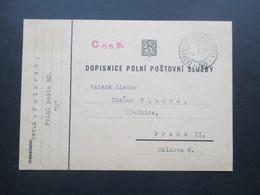 DR / Sudetenland 10.X.1938 ?? PK Mit Rotem Stempel Censura Und Ceskoslovenska Polni Posta 50 Nach Praha II - Tschechoslowakei/CSSR