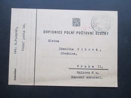 DR / Sudetenland 14.X.1938 ?? PK Mit Rotem Stempel Censura Und Ceskoslovenska Polni Posta 50 Nach Praha II - Tschechoslowakei/CSSR