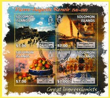 Bloc Feuillet Oblitéré De 4 Timbres-poste - Les Grands Impressionnistes Pierre-Auguste Renoir - Îles Salomon 2013 - Salomon (Iles 1978-...)