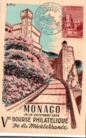 Monaco 1954 - Bourse Philatélique De La Méditerranée - Carte Maxi Du Chateau - Postmarks