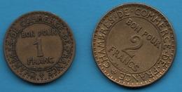 France LOT 2 COINS: 1 + 2 FRANCS 1922 CdC - Kilowaar - Munten
