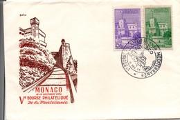 Monaco 1954 - Bourse Philatélique De La Méditerranée - Enveloppe Du Palais - Postmarks