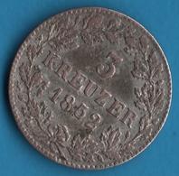 KÖNIGR. Württemberg 3 KREUZER 1852 Silver (.333) Wilhelm I KM# 591 - [ 1] …-1871 : German States