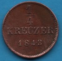 KÖNIGR. Württemberg 1/4 KREUZER 1843 KM# 589 Wilhelm I - [ 1] …-1871 : German States