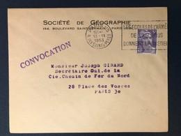 Lettre Paris Rue Saints Pères Cachet Marque Postale Slogan écoles Armée Air Donnent Un Métier Marianne Gandon - 1921-1960: Modern Period