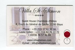 CdV °_ Hotel-33-Blaye-Villa St-Simon-Chambres D'Hotes - Cartes De Visite