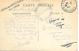 83-cachet Hôpital Des Armées Jean-Louis à Fréjus Sur CP De Grenoble En 1916 - WW I