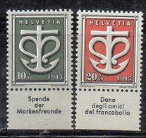 561/1500 - SVIZZERA 1945 , Unificato N. 403/404  ***  MNH - Nuovi