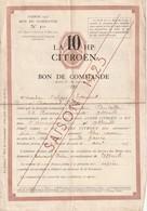 BON DE COMMANDE LA 10 HP CITROËN En 1923 - Francia