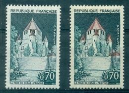 FRANCE N°1392 A N Xx Variété Toits Rouges + 1 Ex Toits Quasi Gris TB ( Cote : 90 € ) - Abarten: 1960-69 Ungebraucht
