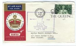 GRANDE BRETAGNE 1953:  2  Lettres De Londres Pour Ceylan Et Les Iles Salomon FDC 'Jour Du Couronnement D'Elizabeth II' - 1952-.... (Elizabeth II)