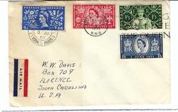 GRANDE BRETAGNE 1953:  Lettre De Londres Pour Les USA,  FDC 'Jour Du Couronnement D'Elizabeth II' Sur Enveloppe Normale - 1952-.... (Elizabeth II)