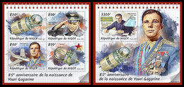 NIGER 2019 - Yuri Gagarin, M/S + S/S. Official Issue [NIG190601] - Space