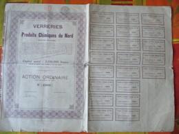 VERRERIES ET PRODUITS CHIMIQUES DU NORD BRUXELLES ACTION ORDINAIRE SANS DESIGNATION DE VALEUR N°18960 STATUTS CACHETS FI - Actions & Titres