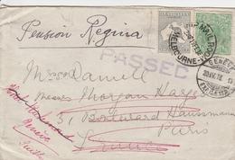 Australie Lettre Pour La France Via La Suisse 1918 - Cartas