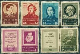 BULGARIA \ BULGARIE ~ 1955 - Ecrivains Celebres - Schiller, Mickewicz, Andersen,Montesqueu, Cervantes, Whieman - 6v** - 1945-59 République Populaire