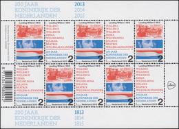 3187-3188 Jubiläum 200 Jahre Königreich Niederlande 2013, Kleinbogen ** - Netherlands