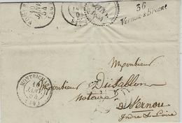 1854- Cursive D'arrivée De 36 / Vernou-s-Brenne  Sur Lettre De Montrichard ( Loir Et Cher ) - Postmark Collection (Covers)