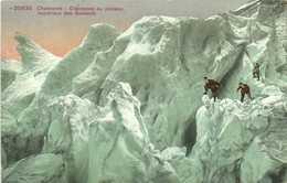 Chamonix Crevasses Au Plateau Supérieur Des Bossons  Alpinistes Colorisée RV - Chamonix-Mont-Blanc