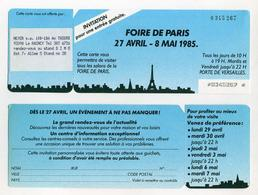 Invitation Foire De Paris 1985 - Porte De Versailles, Paris, France. (Meyer S.A.) - Tickets D'entrée