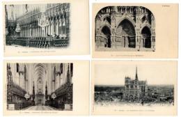 4 CPA SIMPLES   80    AMIENS       CATHEDRALE     LES PORCHES ET STALLES - Amiens