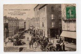 - CPA LE MONASTIER-SUR-GAZEILLE (43) - La Place De La Fromagerie Un Jour De Marché 1910 (belle Animation) - - Francia