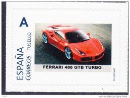 COCHE FERRARI 488 GTB TURBO  - THEME CARS-AUTOS-VOITURES - TU SELLO PERSONALIZADO ESPAÑA - TIRADA 25 SELLOS - Auto's