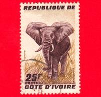 COSTA D'AVORIO - Usato - 1959 - Elefante Africano (Loxodonta Africana) - 25 - Costa D'Avorio (1960-...)