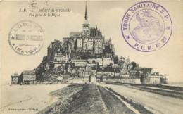 CACHET TRAIN SANITAIRE PLM N° 27 SUR CARTE MONT-SAINT-MICHEL - Marcophilie (Lettres)
