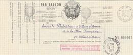 Centenaire Combats Bry Champigny Par Ballon Le Daguerre Cachet Flamme PP Villiers Sur Marne 10/11/1970 - Signatures - Mongolfiere