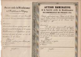39-ORPHELINAT DE POLIGNY (JURA). Sté Civile De Bienfaisance De L'...  1853 - Shareholdings