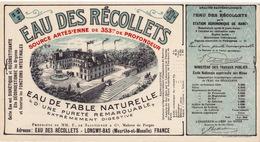 20422# ETIQUETTE BOUTEILLE EAU DES RECOLLETS LONGWY BAS MEURTHE ET MOSELLE LORRAINE ETAT NEUF - Other