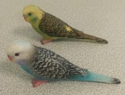 Lot De 2 Figurines Oiseaux Birds Perruches Ondulées Verte Et Bleue - Oiseaux