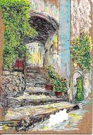CPSM   Magnifique Peinture Sur Cp En Liège 83 Ramatuelle Rue Roumpi-ou - Peintures & Tableaux