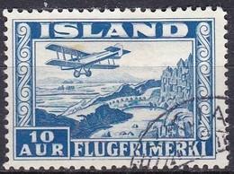 IC099 – ISLANDE – ICELAND – 1934 – PLANE OVER THINGVALLA – SC # C15 USED - Airmail