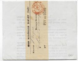 1879 - AUDE - IMPRIME Sous BANDE De EAU MINERALE D'ALET => PUY DE DOME Avec CACHET Des PP IMPRIMES De PARIS - 1877-1920: Periodo Semi Moderno