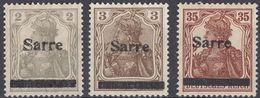 SAAR - SARRE - 1920 - Lotto Di 3 Valori Nuovi Senza Gomma: Yvert 1, 3 E 11. - 1920-35 Società Delle Nazioni