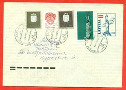 Latvia 1992.The Envelope With Printed Stamp Is Really Past Mail. Affranchissement Mixte De L'URSS-Lettonie. - Latvia