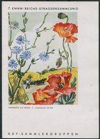 """1943 Germany DR Sonderkarte 7.KWHW-Reichs-Straßensammlung. Berlin """"Tag Der Briefmarke"""" KDF Sammlergruppen Flowers - Germany"""