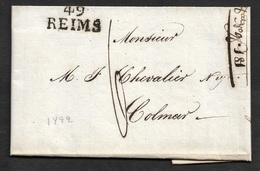 1822 LAC 49 REIMS ( MARNE ) 26mm X 12mm A COLMAR - Marcofilia (sobres)