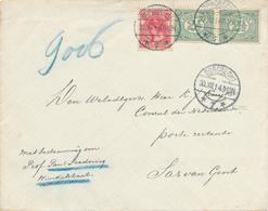 475 DT - Lettre TP Hollande DORDRECHT 30 XII 1914 Vers Consul Kuyck , SAS VAN GENT - Smokkelpost Pour Belgique - Weltkrieg 1914-18