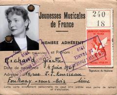 Carte Des Jeunesses Musicales De France - Membre Adhérent Richard Ginette, Fontenay Sous Bois, Vignette 1958/59 - Documenti Storici