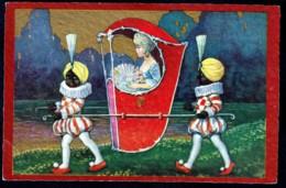 CPA ANCIENNE- FRANCE- ILLUSTRATION  ORIGINALE- CHAISE A PORTEUR AVEC BELLE ANIMATION - Illustrateurs & Photographes