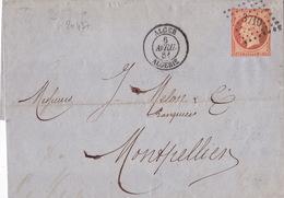 20437# NAPOLEON N°16 LETTRE Obl PC ALGER ALGERIE 1861 T15 Pour MONTPELLIER HERAULT - 1849-1876: Classic Period
