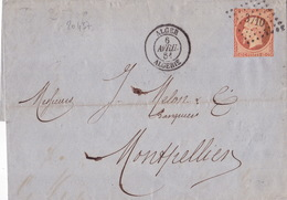20437# NAPOLEON N°16 LETTRE Obl PC ALGER ALGERIE 1861 T15 Pour MONTPELLIER HERAULT - Postmark Collection (Covers)