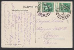 "Pellens - N°110 En Paire Sur CP Vue Obl Simple Cercle ""Paquebots - Pakebooten / Oostende-Dover"" Vers Berne - 1912 Pellens"